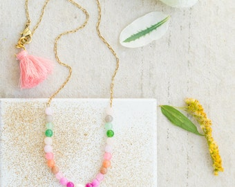Dainty Gemstone Beaded Necklace ,  Pearl Necklace, Tassel Necklace