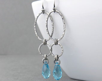 Long Earrings Turquoise Earrings Silver Drop Earrings Sterling Silver Earrings December Birthstone Jewelry Gift for Women - Adorned Aubrey