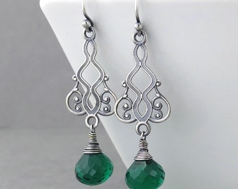 Emerald Earrings Long Silver Earrings Dangle Earrings Silver Drop Earrings Handmade Jewelry Modern Jewelry Moroccan Dreams