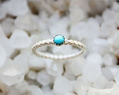 Turquoise Ring, small sterling silver ring, turquoise stacking ring,  thin silver band, blue turquoise jewelry, beaded band, girlfriend wife
