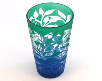Tree of Life - Pint Glass - Clear Inlay Style - Etched and Painted Glassware - Custom Made to Order