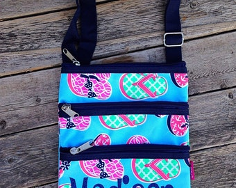 Personalized Messenger Bag - Flip Flops - Mini Ipod Purse - Tablet Purse - Personalized Cross Body Bag -Includes Name or Monogram