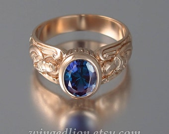 GUARDIAN ANGELS 14k rose gold ring with Alexandrite (sizes from 5 to 8.5)
