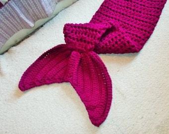 Crochet Mermaid Tail blanket-Snuggie-Lapghan-PRESCHOOL Size-READY to SHIP-Boysenberry