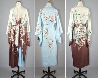 vintage kimono / 1930s / reversible / BOTANICAL NO. 3 antique kimono