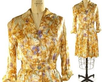 SALE 60s Lion & Giraffe Novelty Print Dress Vintage 1960s Cocktail Dress Pleated Skirt and Rhinestone Button Belt Mod Retro Rockabilly Boho
