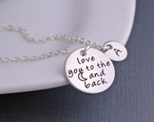 Love You to the Moon and Back Necklace, Personalized Moon Jewelry in Silver, Holiday Gift for Daughter