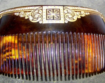 VINTAGE Antique Faux Tortoise Shell Stylized Inlaid Gold Hair Comb Large With Rhinestones
