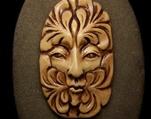 Greenman Face Cab Earthy shades of brown & beige spirit Cabochon polymer clay beading focal