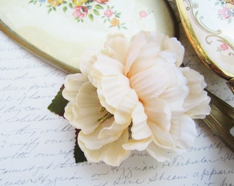 Ivory Flower Hair Clip, Pinup Rose Hair Clip, Shabby Chic Rose, Hair Flower
