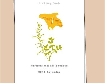 April 2016 - March 2017 Wall Calendar Farmers Market Produce