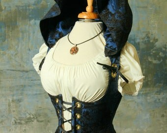 Waist 24 to 26 Black & Blue Medallion Hooded Vixen Corset