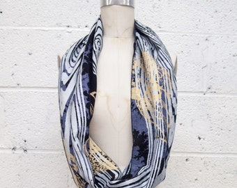 Circular Scarf Sheer Cotton Light Weight Handprinted Black and Silver