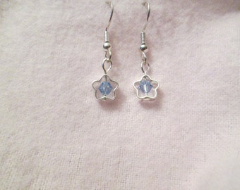 Blue Swarovski Crystal and Silver Plated Star Earrings