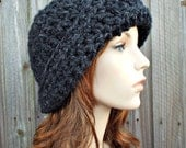Crochet Hat Womens Hat 1920s Flapper Hat - Garbo Cloche Hat Charcoal Grey Crochet Hat - Grey Hat Grey Beanie Womens Accessories Winter Hat