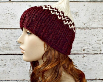 Wine Red and Cream Knit Hat Red Womens Hat - Red Gnome Hat Cream Hat Wine Red Hat Red Beanie Womens Accessories Winter Ha