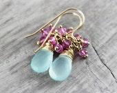 Aqua Gemstone Earrings, Light Pink Earrings, Wire Wrap Earrings, Dangle Drop Earrings, Light Blue Earrings, Gold Fill Earrings, Gemstone