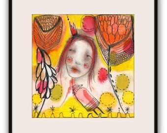 "ORIGINAL Illustration , Watercolor- Children's Illustration Art  by Christina Romeo......""if Only"""