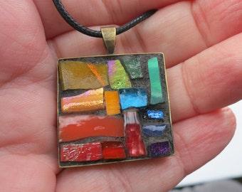 Rainbow Inspired ROYGBV Mosaic Pendant with Bronze Bezel