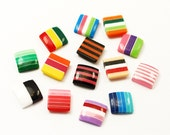 25 cute 10mm square striped cabochons,  mixed color cabs
