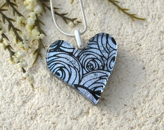 Silver Rose Heart, Rose Necklace, Fused Glass Jewelry, Heart Pendant, Dichroic Glass Neckalce, Dichroic Jewelry, Silver Necklace, 100916p103