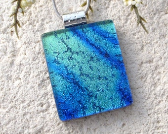 Aqua Blue Necklace, Dichroic Jewelry, Dichroic Glass Necklace, Fused Glass Jewelry, Fused Glass Pendant, Fused Glass Necklace, 100916p106
