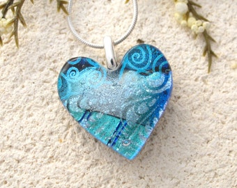 Silver Blue Heart Necklace, Dichroic Heart Necklace, Fused Glass Jewelry, Dichroic Jewelry, Blue Necklace, Silver Necklace, 011616p121