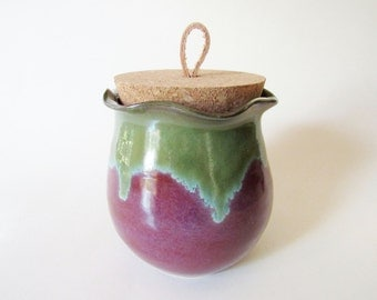Handmade Ruffle Edge Jar with cork lid - glazed in Merlot and Green