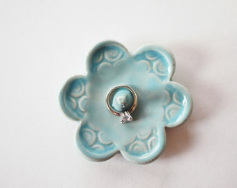 Baby Blue Ring Dish - Pale Blue ring holder - handmade ceramic pottery