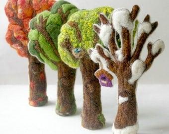 Four Seasons Trees: Handmade Wool and Silk Trees CUSTOM MADE (Set of Four for Natural or Seasonal Table, Waldorf Inspired)