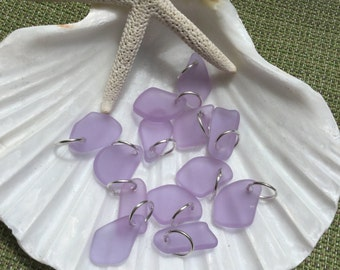 Sea glass charm~ periwinkle beach glass charm beads~ Seaglass jewelry~ beach glass earring~ bohemian ladirs gifts~ beach wedding jewelry