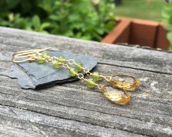 Vesuvianite, Citrine 14k Goldfill, Long Dangle Earrings, Handmade Jewelry, Wire Wrap, Genuine Gemstone, Yellow Citrine, Green Vesuvianite