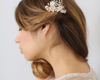 Bridal hair comb - Petite floral and cluster bead comb - Style 621 - Ready to Ship