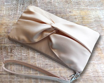 Sale Knotted Bow Champagne Satin Bridesmaids Clutch- Nude Wedding Clutch