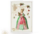 Marie Antoinette, Christmas card, let them eat cake, Christmas pudding, robin, holy, red berries, mistletoe, a vintage style, holiday card