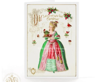 Marie Antoinette Christmas card, let them eat cake, plum pudding, vintage style holiday card
