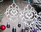 Fatima - Silver Hamsa Earrings with Amethyst and Teal Hydro Quartz