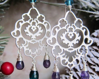 Fatima - Silver Hamsa Earrings with Amethyst and Teal Hydro Quartz