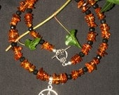 Baltic Amber, Jet and Fairy Star Necklace for Valeria