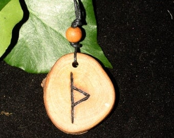English Blackthorn Wood Runic Protection Charm Pendant - Thorn, Thurisaz - Pagan, Wicca, Witchcraft
