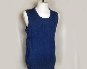 Vintage Men's Sweater Vest, 1960's, Blue, Royal Blue, Bonds, Round Neckline, Acrylic, Large