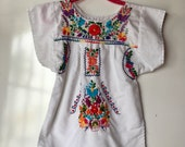 embroidered mexican dress / baby girl dress / 1 - 2 years toddler dress