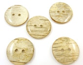 "5 LARGER size  Rustic Birch Bark Wooden Buttons.  Hand Cut Birch Bark Buttons. Approximately 1"" or 25 mm Round."