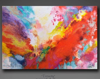 Original painting, abstract painting, acrylic painting, modern art, pour painting, fluid painting, 24x36 inches, Tenacity, dramatic