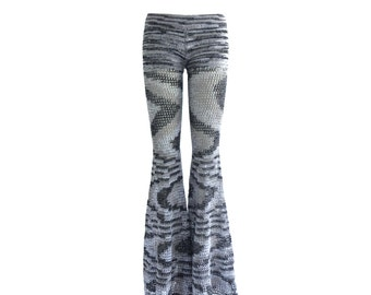 Size L Crochet Pants - Bell Bottoms in Smoke - Handmade- Flared Leggings - Free US Shipping