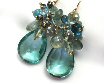 Rare Lg Blue Green Topaz, Aquamarine, Multi-gemstone Earrings in 14kg fill...