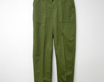 """vintage military poly cotton trousers . high waist 32"""" . length 45"""""""