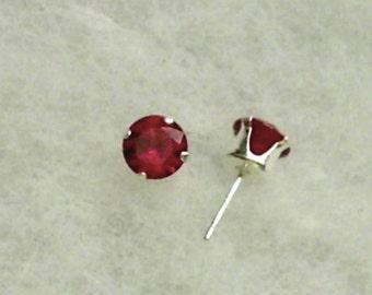 6mm Lab Created Ruby Gemstones in 925 Sterling Silver Stud Earrings SnapsByAnthony July Birthstone
