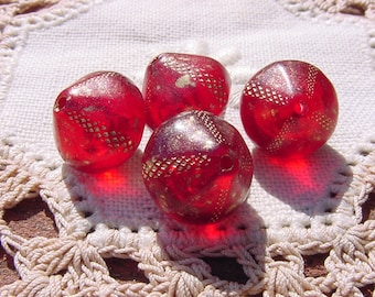 Poppy Red Gold Etched Bicones Vintage Lucite Beads