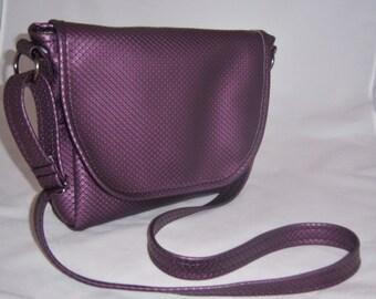 Purple vinyl Messenger Bag - small